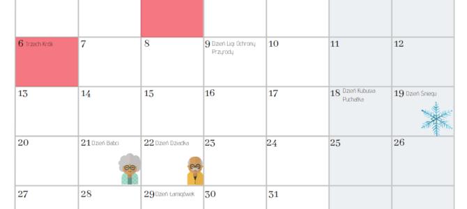 Kalendarz z najważniejszymi datami w życiu przedszkola i szkoły